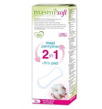 Органические прокладки ультратонкие Макси плюс 2 в 1 для ежедневных или незначительных выделений, 24 шт., MASMI