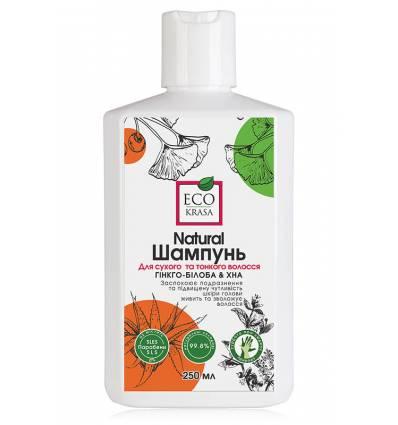 Шампунь для сухих и тонких волос «Гинкго-билоба и хна», EcoKrasa